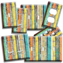 Colorful Rustic Distressed Painted Wood Light Switch Wall Outlet Plate Art Decor - $8.99+