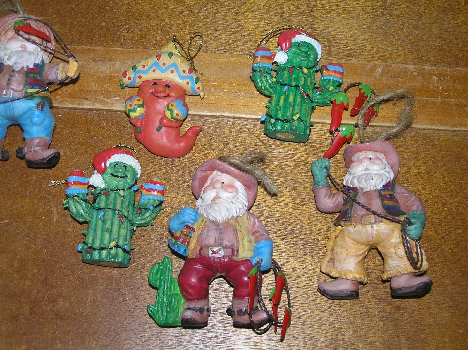 Estate Lot of Resin & Ceramic Southwest Santa Claus Cowboy Cactus Chili Pepper