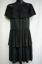 WHITE HOUSE BLACK MARKET Polka Dot Layered Dress On Off Shoulders Size S... - $15.44