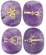 Rockcloud Healing Crystal 4pcs Engraved Tarot Symbol Palm Stones Reiki Agate - $32.91