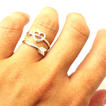 Silver Arrow Heart Ring - Chevron Jewelry - $42.00