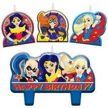 DC Super Hero Girls Cake Topper 4 Piece Candle Set Birthday Party Suppli... - $4.90