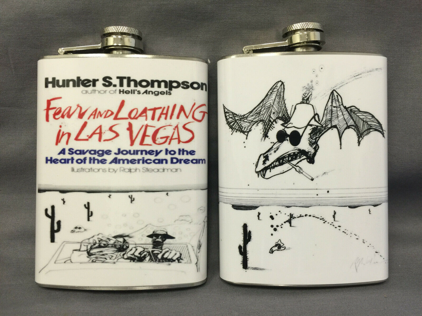 Set of 2 Hunter S Thompson Flasks 8oz Stainless Steel Drinking Whiskey
