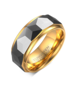 100% Tungsten Men Ring Wedding Male Jewelry Gold Color 8mm Width - $18.99
