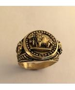 14K Gold American Buffalo Indian Warrior Mens medium Pinky ring - $675.00