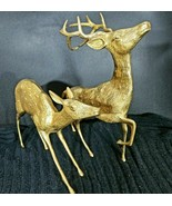 """Set of 2 Large 14 """" Cast Brass Deer Figurines Statues Buck and Fawn - $131.42"""
