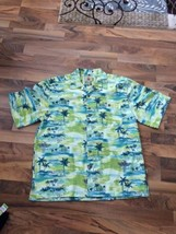 Joe Marlin Green Palm Tree Hawaiian Short Slv Button Collared Shirt Mens... - $23.19