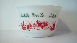 Tom and Jerry Punch Bowl Hazel-Atlas Milk Glass Stagecoach Huge Punch Bo... - $46.40