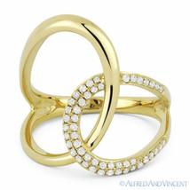 0.25ct Round Cut Diamond Right-Hand Overlap Loop Fashion Ring in 14k Yel... - $603.89