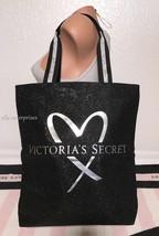 Victoria's Secret Fashion Show 2017 Silver Metallic Black Glitter Tote Bag - $22.27