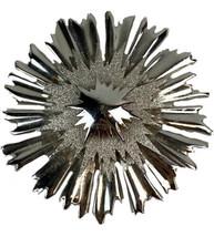 "Vtg Monet Silver Tone Starburst Brooch Pendant Shiny Textured 2.5"" - $28.01"