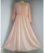 Vintage OLGA Peach Brush Nylon Cozy Top Long Nightgown - $39.60