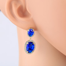 UNITED ELEGANCE Dangling Faux Sapphire & Swarovski Style Crystal Drop Ea... - $27.99