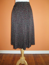 Vintage Saks Fifth Avenue Size 8 Black Polka Dot Accordian Pleat Silk Skirt - $27.60