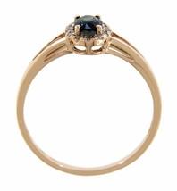Zafiro Azul Piedra de Nacimiento 14k Oro Rosa 0.77ct Natural Halo Diamante - $203.15