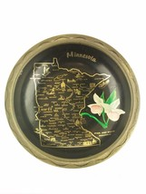 Minnesota Round Black Serving Tray Pink White Moccasin Flower - $19.39