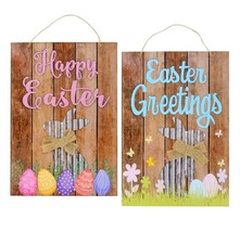 SO CUTE! Hanging Wood Rustic Galvanized Happy Easter Bunny Decor Sign Wall  - $9.00
