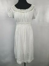 Max Studio Womens Dress Size Small White Crochet Hem Short Sleeve BOHO C... - $31.99