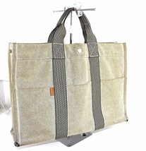 100% Auth HERMES Paris Fourre Tout MM Beige Canvas Cotton Tote Handbag F... - $98.01