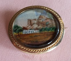 Antique Victorian Pin with a Miniature Painting on Ivory, 1870-1880 - $195.00