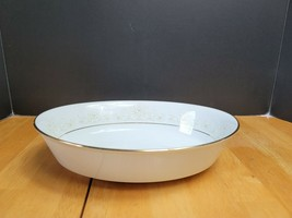Noritake Dearest China Oval Serving Bowl 9 Inch White & Brown Floral Trim   - $11.88