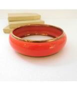 Vintage Brass Orange Resin Chunky Bangle Bracelet F4 - $16.14