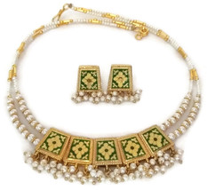 Indian Bridal Necklace Gold Plated Reversible Green Black White Pearl Jewelry S - $15.19