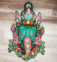 Ganesha Mask with Gemstone Work Wall hanging Art Sculpture wall Decor Re... - $277.70