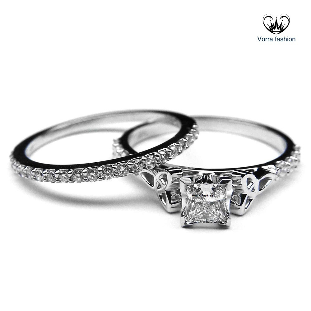 princess diamond white gold plated 925 silver womens