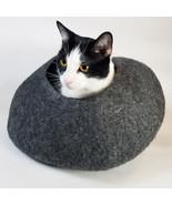 Cat Cave Heathered Gray Walking Palm Feline Bed Natural Merino Wool Hous... - $58.29