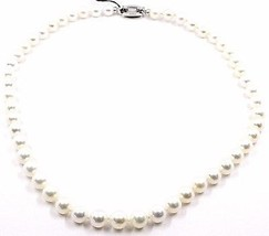 NECKLACE WHITE GOLD 18K, PEARLS 8-8.5 MM, white, FRESHWATER, high quality - $1,354.63