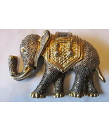 Vintage Large Elephant Brooch - Gold & Silver Toned with Rhinestone Eye - $299,70 MXN