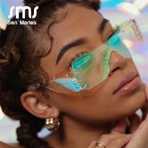 Fashion Rimless Square Sunglasses Women  Luxury Brand Mirror Pink Shades Sunglas