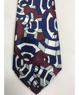 """HAGGAR Hand Made 100% Silk Tie Men's EUC 59"""" Maroon Blue Silver Gears - $8.59"""