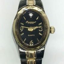 Vintage Women's Gruen Precision Japan Movt Quartz Gold Black Watch Wristwatch - $14.84