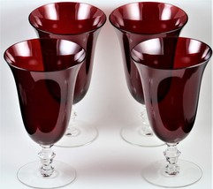 "Set of 4, Imperial, 6.75"" Inch, 10 ounce, Red Bowl, Footed Ice Tea Tumblers - $32.00"