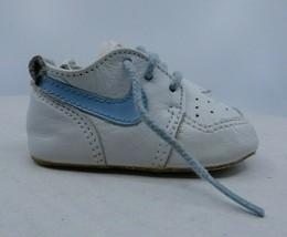 Vtg 1986 Nike Crib Shoes Baby Boy Soft Bottom Size 0 Newborn White with ... - $34.29