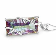 925 Sterling Silver Mystic Rainbow Topaz Leaf Pendant Necklace [PEN-285] - $16.83