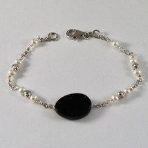 925 Silver Bracelet with Faceted Beads and Pearls and Onyx Faceted image 1