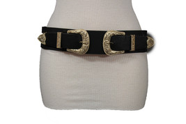 Damen West Doppel Gold Schnallen Mode Schwarzer Gürtel Elastisch Hüfte T... - $33.91