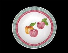 "Huge Laurie Gates Apples Tile Border Los Angeles Pottery 14-1/4"" Serving Bowl - $36.99"