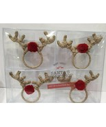 Christmas Reindeer Red Nose Napkin Rings Set of 4 - $29.99