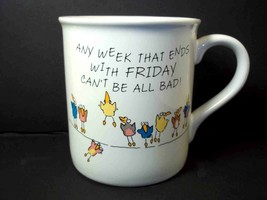 Hallmark coffee mug cup Any Week with Monday & Friday Birds on Wire 1986... - $8.92
