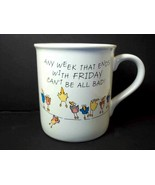 Hallmark coffee mug cup Any Week with Monday & Friday Birds on Wire 1986... - $8.92