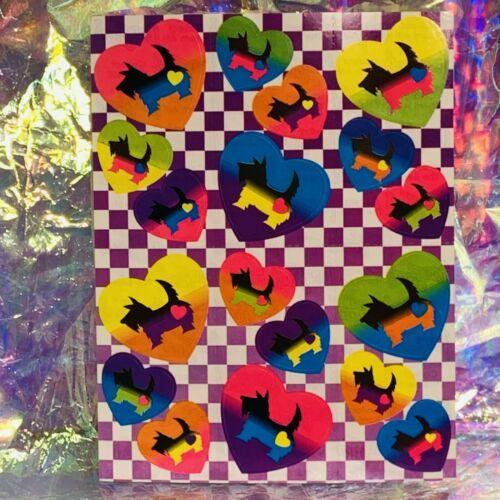 Vintage Lisa Frank S161 Scottish Terrier Dog In Rainbow Hearts Checkered Pattern