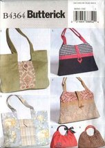 Butterick Sewing Pattern 4364 Three Lined Fashion Handbags Purses Pocket... - $13.72