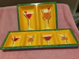 """222 FIFTH--""""PARTY"""" PLATTERS / SERVERS / TRAYS--MARTINI--BARWARE --FREE S... - $56.53"""