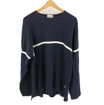 J Crew Mens Sweater Size Large Tall Navy Blue White Striped Crewneck Lon... - $13.86