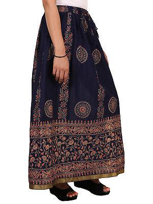 Rajasthani Printed Hippie Long Bottom Cotton Waisted Maxi Skirt