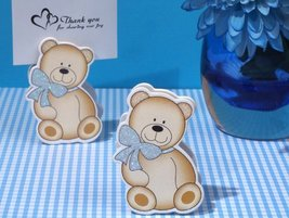 Cute And Cuddly Blue Teddy Place Card Holder - 100 count - $55.50
